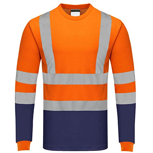 GA COMMUNICATIONS HI VIS VIZ T Shirt HIGH Visibility Reflective Tape Worker Safety Security Tops[Orange Navy,M]