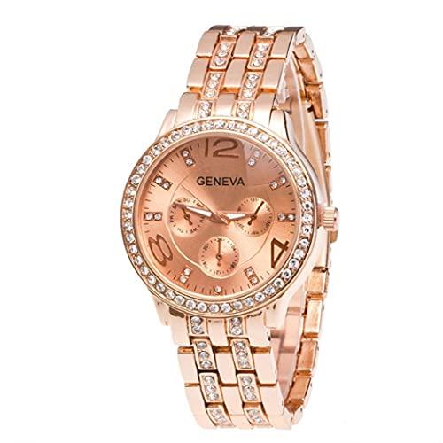 Las Mujeres del Reloj de Cuarzo analógico Reloj con Acero Brazalete dial Redondo de Cristal Casual Reloj de Pulsera de Uso múltiple con el botón de la batería (de Oro Rosa)