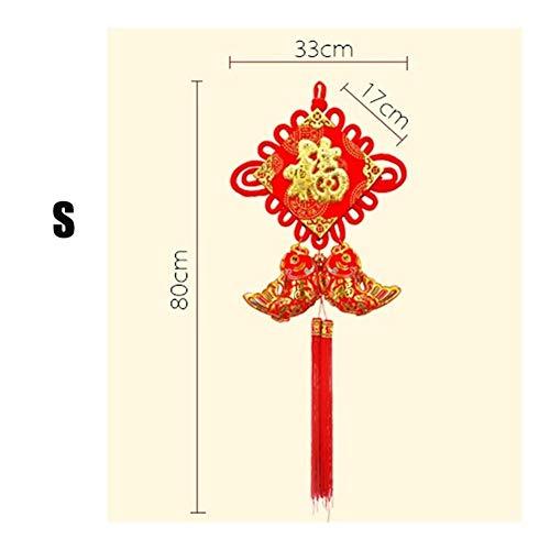 YUNGYE Chinesische Knoten Quasten Anhänger Frohes Neues Jahr Frühlingsfest-Geschenk-Verzierung Kultur Und Kunst Vorhang Dekorative Flannelette Madchen Halskette Anhanger (Color : S)