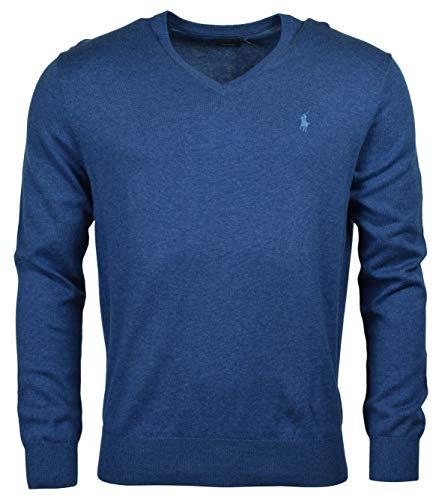 Ralph Lauren Mens Pima Cotton V-Neck Sweater (Medium, Blue Heather (Blue Pony))