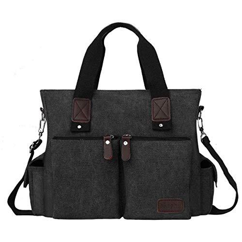 Eshow Damen Umhängetasche Handtasche Canvas Segeltuch mit Handgriff Anti diebstahl Fächern Schwarz/Grau/Anthrazit zu Einkaufen spazieren (schwarz)