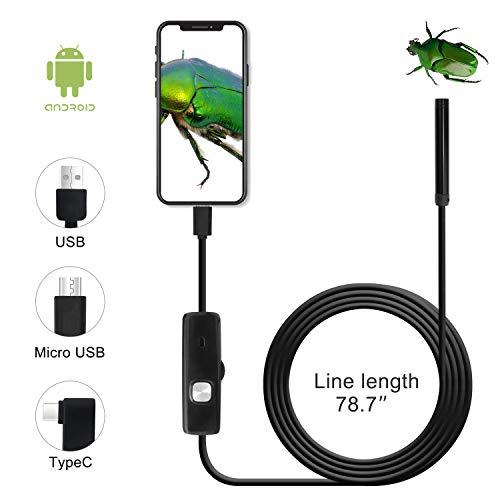 QiCheng&LYS USB Android Endoskop 2,0 Megapixel CMOS HD 2 in 1 wasserdichte Endoskop Inspektionskamera Starre Schlangenkabel für Smartphone Tablet-Gerät (2m)