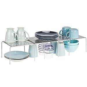 mDesign Juego de 3 estanterías metálicas para armarios de cocina – Práctica estantería de cocina para crear más espacio de almacenaje – Baldas de cocina extensibles de metal – plateado