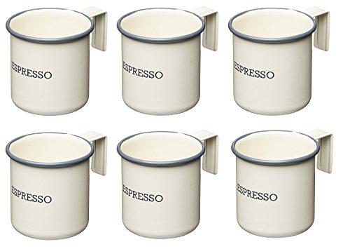 Kitchen Craft Living Nostalgia Emaille-Espressotassen, 75 ml, cremefarben, 6 Stück, Emailliert, Antik-Cremeweiß, 7 x 5 x 5 cm, 6