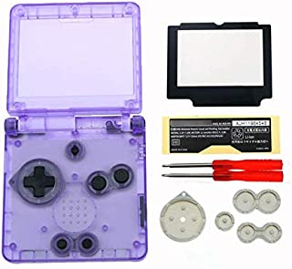 Full Housing Case Cover Housing Shell Replacement for Game boy Advance SP GBA SP Shell Case with Buttons Kit-Clear Purple