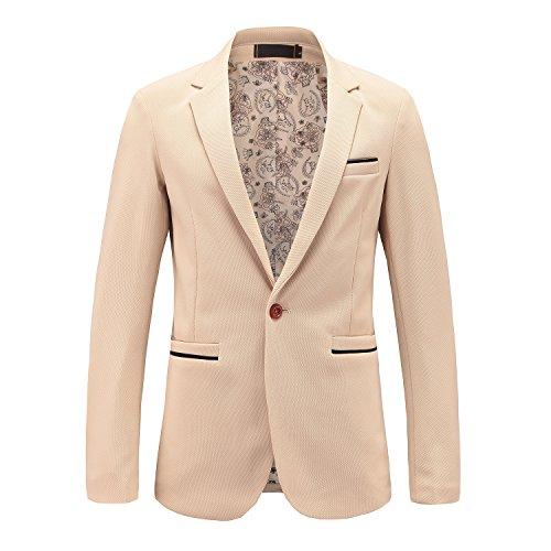 Kool Classic Men's Slim Fit Suits Casual One Button Flap Pockets Solid Blazer Khaki Tag 3XL=US M