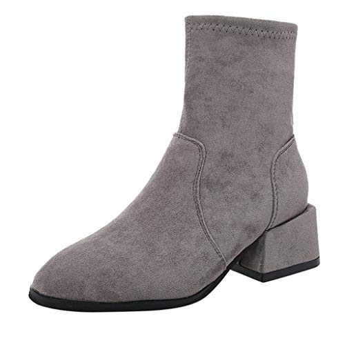 Stiefel Damen Krissy Frauen Wildleder Runder Zeh Solide Block Ferse Stiefeletten Modisch Knöchelhohe Stiefel Warme Dicker Winterschuhe Schnee Schuhe Komfortable Worker Boots
