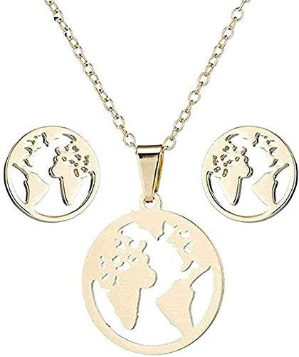 Yiffshunl Collar Vintage Mapa del Mundo Conjuntos de Acero Inoxidable Collar Collar de Cadena Mujeres Tierra Colgante Collares joyería para Regalo de año