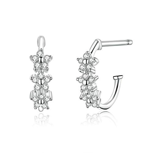 XCWXM 925 Sterling Silver Hoop Earrings Blossom Flower Earrings Wedding Statement Style Sweet Trendy Christmas/Valentine Gifts for Girls