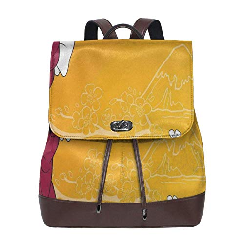 Flyup Women's leather backpack,Geisha Woman And Sakura Trees In The Foothills Of Fuji,School Travel Girls Ladies Rucksack