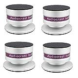 Audiocrast - Juego de 4 púas de aluminio para altavoces, reproductores de CD, DVD, tocadiscos, etc. (plateado)