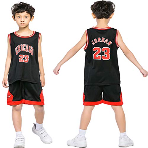 HUAXUN 23Jorden Jersey Camiseta baloncestotraje Entrenamiento Traje Deportivo para HombreBaloncesto ni?os (Negro, S)