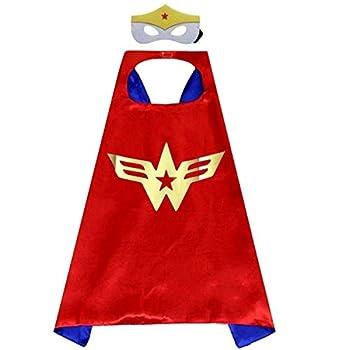 Maribus-FL Superhero Capes and Masks for Kids - Satin Capes and Felt Masks for Boys and Girls  Wonder-Girl   Wonder-Girl