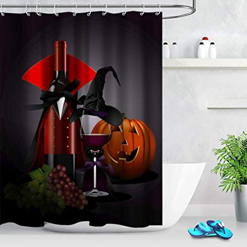 /N Disfraz de Vino Tinto de Halloween Sombrero de Mago, Linterna de Calabaza, Cortina de Ducha
