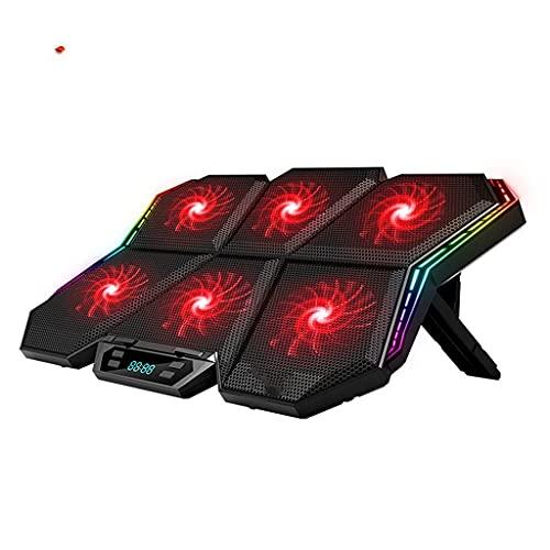 KCGNBQING Gaming RGB Refrigerador portátil 12-17 Pulgadas LED Pantalla Laptop Pista de enfriamiento portátil Refrigerador Soporte con Seis Ventiladores y 2 Puertos USB