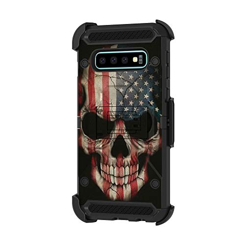 TurtleArmor   Compatible with Samsung Galaxy S10 Case   S10 Case   G973 [Armor Pro] Full Body Protection Armor Hybrid Kickstand Rugged Cover Holster Belt Clip Case - US Flag Skull