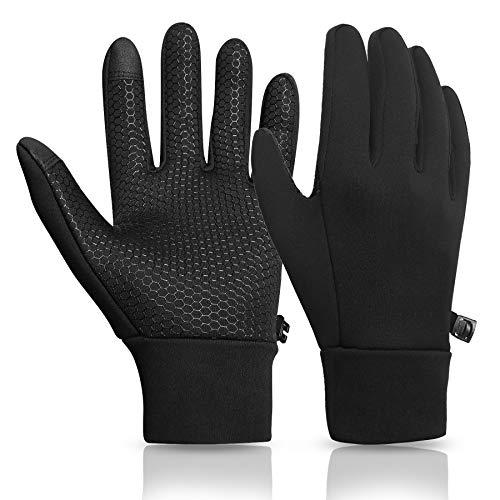 KELOYI Handschuhe Herren Touchscreen Fahrradhandschuhe Winter Männer Outdoor Sport Laufen Handschuhe Damen Rutschfest Trainingshandschuhe Warme Schwarze L