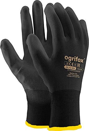 Ogrifox Arbeitshandschuhe, schwarz, aus Nylon, PU-Bezug, Gartenarbeiten, die Baustelle und Mechaniker von AJS workwear LTD., Grau, 12 Pairs- Size XL(10)