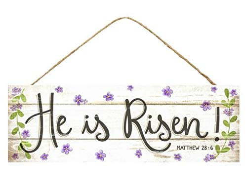 "Craig Bachman 15"" Wooden Sign: He is Risen - Door Wall Easter Religious Sign"