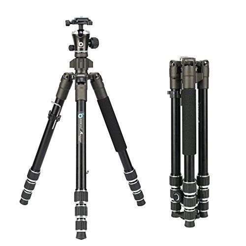 BONFOTO 671A Travel Aluminum Camera Tripod, Lightweight with 1/4' Quick Release Plates Ball Head for Canon/Nikon/Sony/Samsung/Panasonic Olympus DSLR