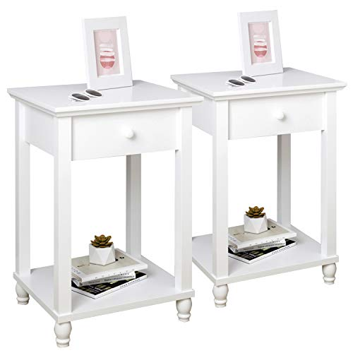Beliwin Bedside Table White Set of 2 with Drawer and Shelf, Small Bedroom Night Stand, Wooden Side Table Square for Living Room