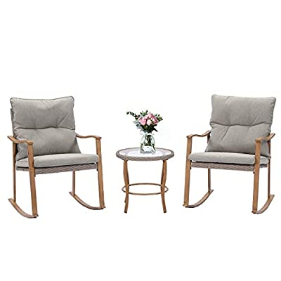 SUNBURY Outdoor Furniture 3-Piece Woodgrain Rocking Chair Set, Bistro Elegant Patio Bistro Chair for Backyard (Light Grey)