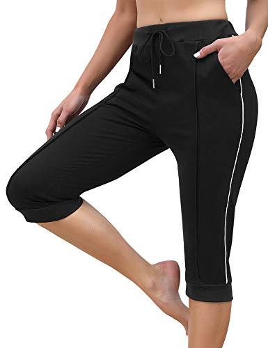 Aibrou Pantaloni Sportivi Donna a 3/4 con Tasca Pantaloni Capri 100% in Cotone Pantaloni Tuta Corti di Vita Alta Pantaloni Estivi Casual Elasticizzati per Ginnastica Fitness Yoga Nero L