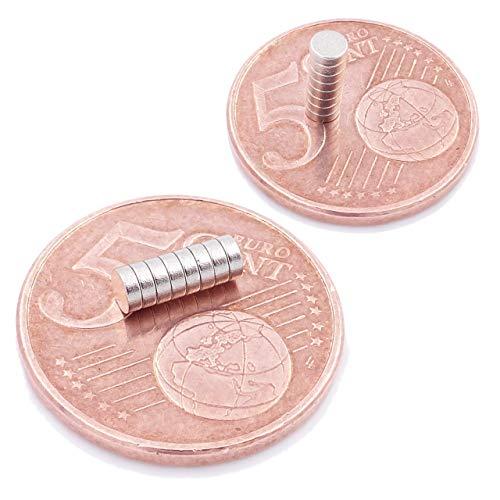 Brudazon | 10 Mini Scheiben-Magnete 3x1mm | N52 stärkste Stufe - Neodym-Magnete ultrastark | Power-Magnet für Modellbau, Foto, Whiteboard, Pinnwand, Kühlschrank, Basteln | Magnetscheibe extra stark