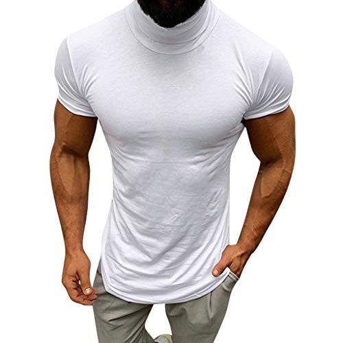 DEELIN Hombres Casual Primavera Verano Solid Color Manga Corta Cuello Alto Blusa Camisas