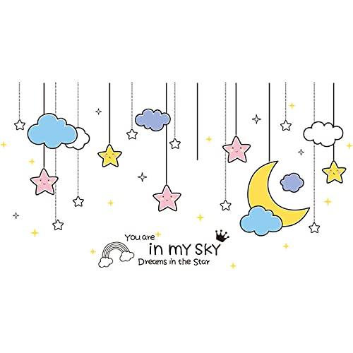 Globos de dibujos animados estrellas nubes pegatinas de pared animales de bricolaje calcomanías de pared para decoración de guardería de dormitorio de niños