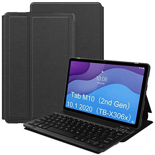 VOVIPO Funda Teclado Español Ñ para Lenovo Tab M10 HD 2ª Gén 10.1, Protectora Cover Funda con Desmontable Wireless Teclado Lenovo Tab M10 HD 2ª Gén TB-X306X/X306F