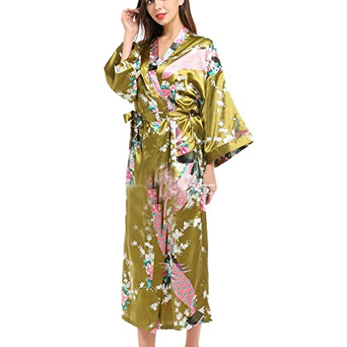Kristallly Dames Robe Maxi Lange Zijde Satijn Kimono Jurk Pauw Patroon Eenvoudige Stijl Kimono Dames Lange Robe Badjas Meisje Pajama Party 135Cm Lange Huis Mode Comfortabele pyjama