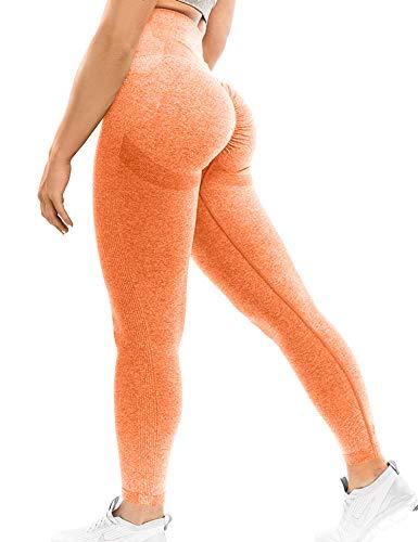 YEOREO Scrunch Butt Lift Leggings para las mujeres Entrenamiento Yoga Pantalones Fruncidos Botín Cintura Alta Polainas de Compresión - Naranja - Small