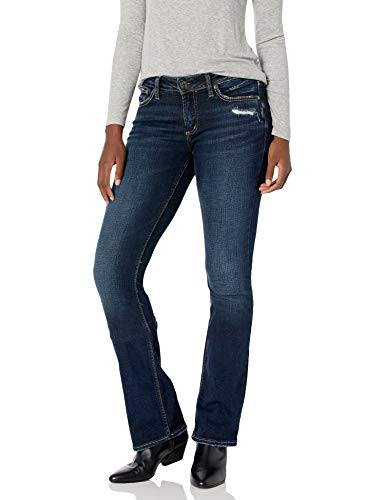 Silver Jeans Co. Women's Elyse Curvy Mid Rise Slim Fit Bootcut Jean, Distressed Dark Indigo Rinse