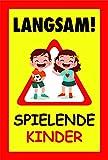 Achtung Kinder – Straßen-Schild - Warnschild spielende Kinder   Vorsicht Hier Spielen Kinder   Bitte langsam Fahren   Leuchtschild Sicherheit   Autofahrer   auffällig (Normal)