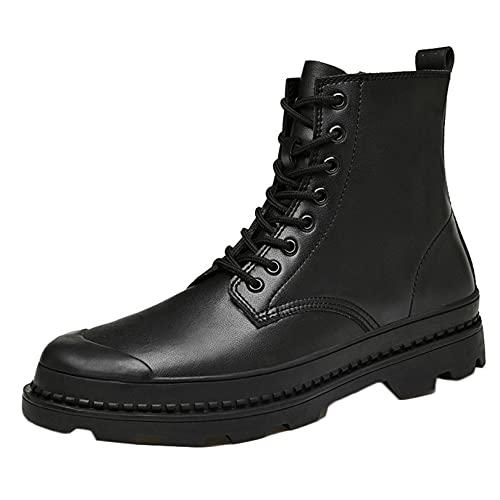 Botas de trabajo de cuero para hombres, de alta calidad, con cordones al aire libre, punta redonda, a prueba de viento, para hombre, casuales, para caminar, botas de motorista, antideslizantes