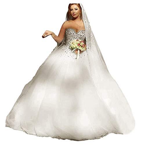 Fankeshi Damen-Hochzeitskleid, Herzform, A-Linie, Kristall-Tüll, Brautkleider -  elfenbein -  54