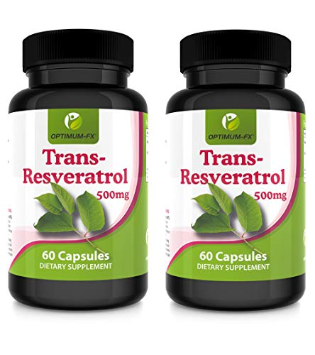 Resveratrol 500mg Capsules Trans Resveratrol Supplement High Strength – Top Grade - NOT Tablets or Powder – 60 Vegan Caps Per Pot 2 Months' Supply