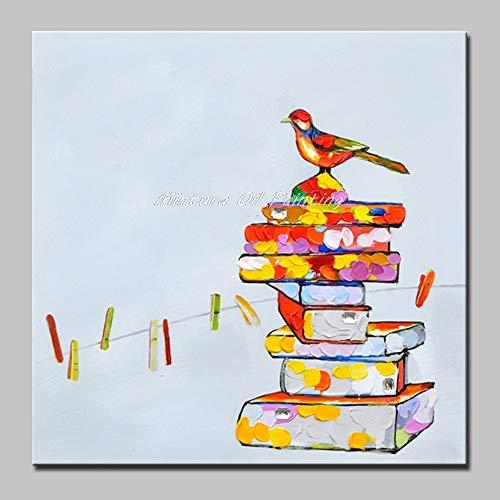 Pittura Ad Olio Dipinto A Mano Su Tela 100% Dipinti Animali Dipinti Dipinti A Mano Opere D'Arte Moderna Astratta,Uccelli Sui Libri,Pop Grande Wall Art Decor Immagini Per Soggiorno Camera Da Letto Offi