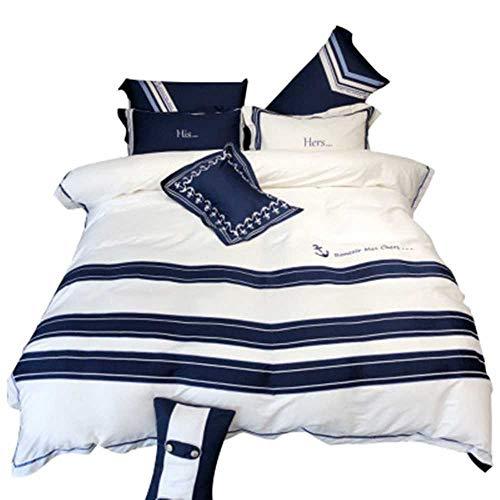 YANGPANGZI Estilo nórdico Minimalista de Cuatro Piezas de algodón Azul y Blanco Bordado Doble Colcha Colcha Ropa de Cama Verano