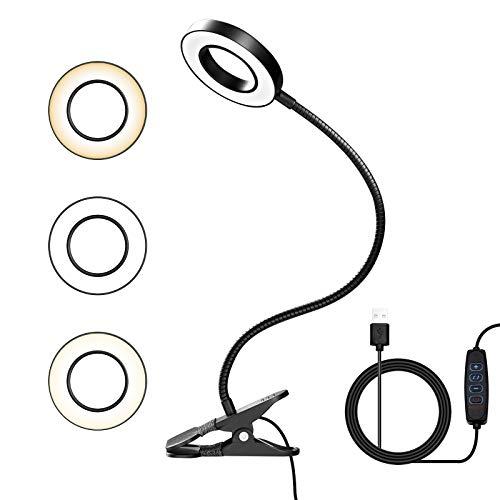 LED Lámpara Lectura con Flexo Pinza,8W Luz Lectura 3 Modos Cuidado Ocular y Brillo Ajustable,360° Flexible con USB Regulable Lampara para Libro,Estudio y Trabajo[Clase de eficiencia energética A++]