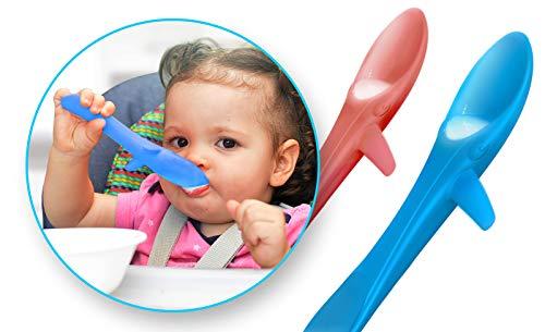 INVENTO Kleckerfreier Baby Lernlöffel, weicher Kinderlöffel für das sichere selber Essen von z.B. Suppen und Brei, aus lebensmittelechten Silikon, ideal für BLW, als Zweierset