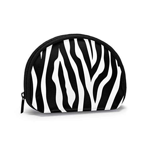 Zebra Stripes Print Animal Mujeres Niñas Shell Cosmético Maquillaje Bolsa de Almacenamiento Monedas de...