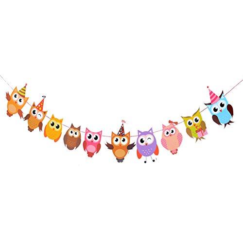 CAOLATOR Girlande Party Wimpelkette Kinder Harte Papier Wimpeln Eule Doppelseitiger Druck Banner Lang 3m