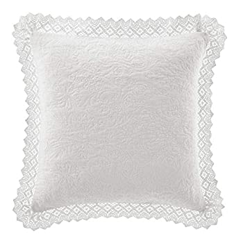 Laura Ashley Home Solid Crochet | Perfect Decorative Throw Pillow Premium Designer Quality Decorative Pillow for Bedroom Living Room and Home Décor 16  x 16  White