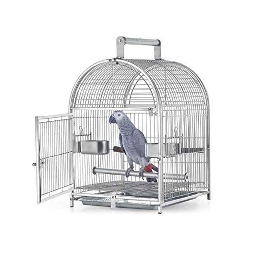 Vogelkäfig Edelstahl Kleiner Budgie Finch Canary Bird Cage 42 * 37 * 54CM Pet Home, beweglicher Kleiner Papagei Reise Käfig Pet Vogelkäfig Papageienkäfig