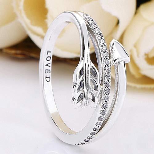 weichuang Anillo original de flechas brillantes con cristal para mujer, anillo de boda, fiesta, regalo de joyería fina (tamaño del anillo: 5)