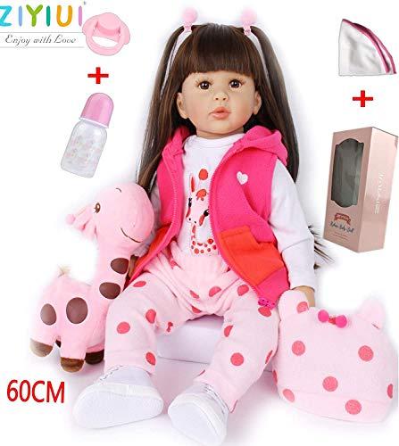 ZIYIUI Lebensecht 24 Zoll 60cm Reborn Babypuppe Mädchen weiches Silikon Vinyl Qualität Realistisch Handgemacht Magnetischer Dummy Reborn Toddler Dolls