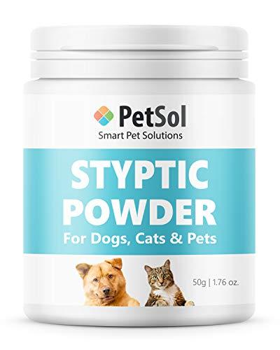 PetSol Styptic Pulver für Hunde, Katzen, Vögel, Kaninchen & Haustier. Hilft mit Blutung verursacht durch Nägel, Cuts, Hygiene- und Kosmetik - Nagelpflege, Erste Hilfe & Skin Protector (50 g)