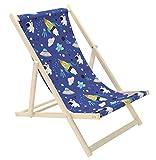 Novamat - Sedia a sdraio per bambini, in legno, pieghevole, da spiaggia, da giardino